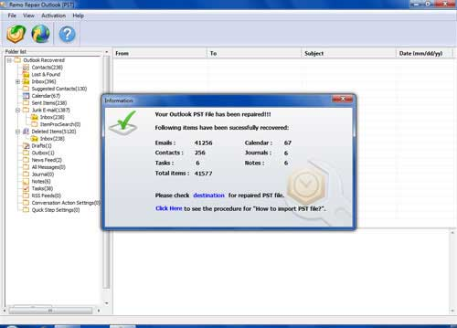 Repair Outlook 2003 PST file  - Repaired PST Data